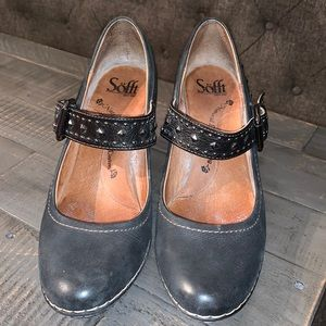 Sofft Leather Studded Mary Jane Wedges - Size 7.5